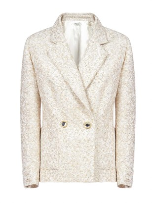 Alessandra Rich Double-breasted Lame Tweed Blazer