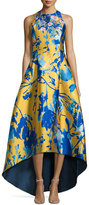 NM Exclusive Sleeveless Floral Jacquard High-Low Gown