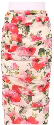 Dolce & Gabbana Floral ruched stretch silk skirt