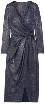 Talbot Runhof Botin Sequin-embellished Stretch-lamé Wrap Midi Dress - Navy