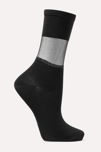Falke Sheer Elegance Mesh-trimmed Cotton-blend Jersey Socks - Black