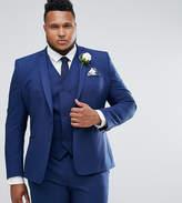 Asos Plus Wedding Skinny Suit Jacket In Navy Cross Hatch With Printed Lining