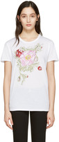Alexander McQueen White Embroidered Floral T-shirt