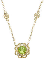 Lord & Taylor Peridot, Diamond and 14K Yellow Gold Pendant Necklace