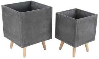 Uma Enterprises Set Of 2 Contemporary Fiber Clay Wood Planters