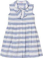 Il Gufo Blue and White Stripe Sleeveless Dress with Bow Detail