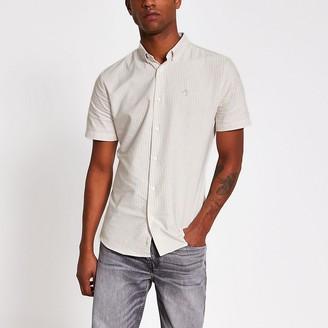 River Island Maison Riviera stone stripe slim fit shirt
