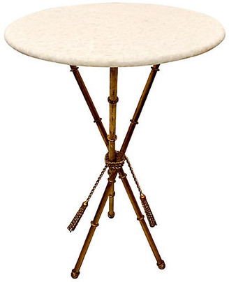 One Kings Lane Vintage Gilt Faux Bamboo Marble Top Table - Von Meyer Ltd.