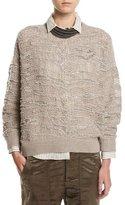 Brunello Cucinelli Animale Paillette Open-Knit Cashmere Sweater, Taupe