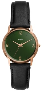 Fossil Women's Mood Black Leather Strap Watch 32mm - A Limited Edition