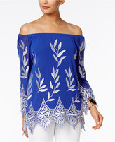 Alfani Embroidered Off-The-Shoulder Top, Only at Macy's