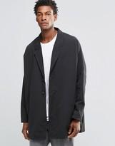 Asos Drop Shoulder Duster Coat In Black