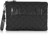 Moschino Black Quilted Nylon Clutch w/Detachable Wristlet