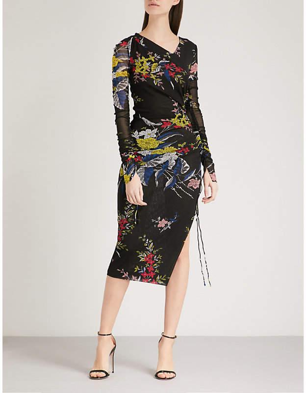 Diane von Furstenberg Floral-print stretch-silk mesh dress