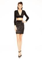 Sentimental NY - Lazer Cut Satin Zebra Print Mini Skirt W/ Sequins Detail And Matching Crop Top/Mech Back