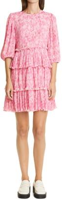 Ganni Floral Plisse Pleated Tiered Georgette Dress