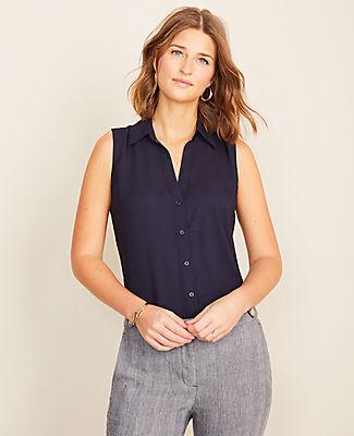 Ann Taylor Petite Sleeveless Essential Shirt