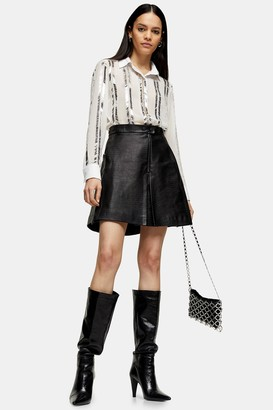 Topshop Womens Idol Black Leather Mini Skirt - Black
