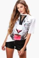 boohoo Skye Lace Up Choker Tiger T Shirt multi