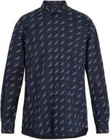 Balenciaga Logo-print button-down collar cotton shirt
