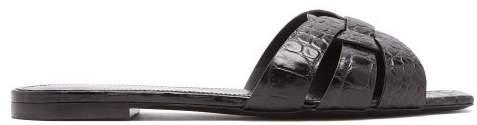 Saint Laurent Tribute Leather Crocodile Design Slides - Womens - Black
