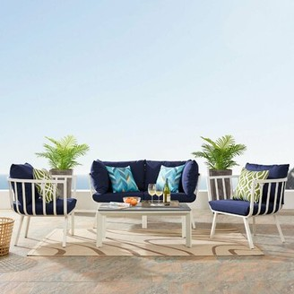 Montclaire Outdoor Patio 4 Piece Sofa Seating Group with Cushions Brayden Studio Cushion Color: Navy, Frame Color: White