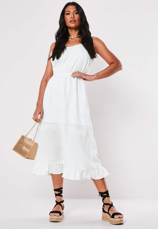 Missguided White Broderie Anglaise Cami Midaxi Dress