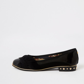 River Island Black knot front studded shoes