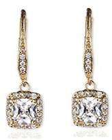 "Anne Klein Flawless"" -Tone and Cubic Zirconia Leverback Drop Earrings"