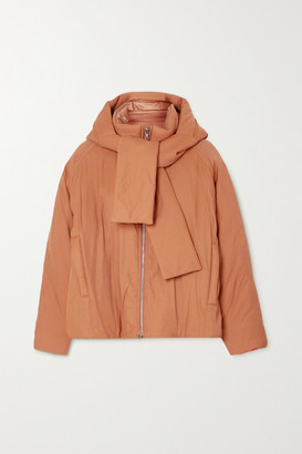 3.1 Phillip Lim Hooded Tie-detailed Padded Cotton-blend Shell Jacket - Camel