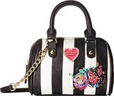 Betsey Johnson Mini Barrel Crossbody Satchel Bag (Stripe/ Multi Flowers)