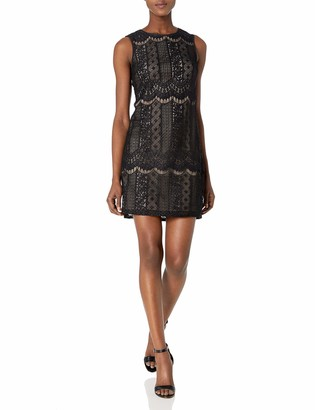 Adrianna Papell Women's Striped Lace Shift Dress