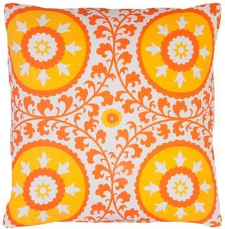 """Entryways Orange & Yellow Suzani Medallions Throw Pillow - 20""""x20"""""""
