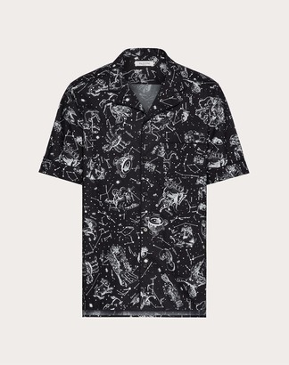 Valentino Zodiac Map Shirt Man Black/white Cotton 100% 46