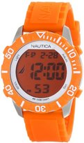 "Nautica Unisex N09927G ""NSR 100"" Fashion Digital Watch with Orange Silicone Band"