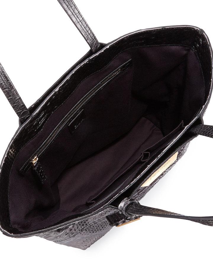 Brian Atwood Liv Snake-Embossed Tote Bag, Gunmetal