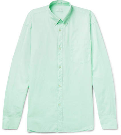 Dries Van Noten Oversized Button-Down Collar Garment-Dyed Cotton Shirt