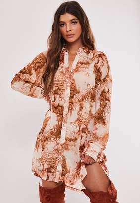 Missguided Orange Smoke Print Oversized Shirt Dress
