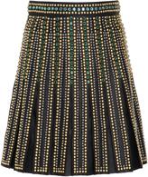 Elie Saab Pleated A-Line Leather Skirt