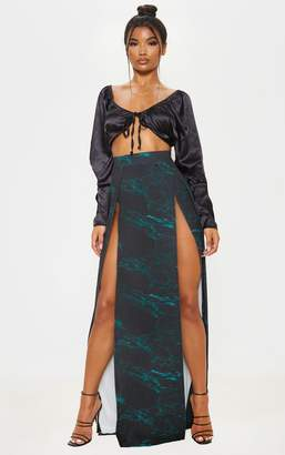 PrettyLittleThing Teal Marble Print Double Split Maxi Skirt