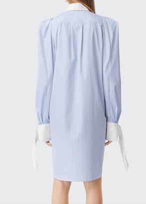 Burberry Pinstriped Tie-Cuff Shirtdress