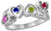 Zales Mother's Birthstone Alternating Hearts Ring in Sterling Silver (4 Stones and Names)
