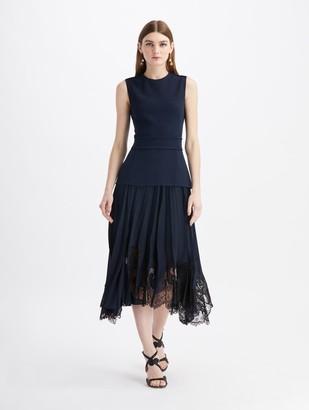 Oscar de la Renta Stretch Wool Midi Lace Day Dress
