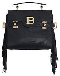 Balmain Women's B-Buzz Fringe Croc-Embossed Leather Top Handle Bag