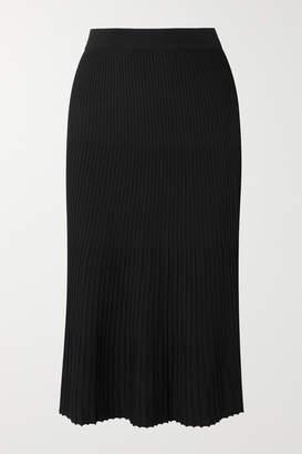 MICHAEL Michael Kors Pleated Stretch-knit Midi Skirt - Black