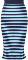 Altuzarra Bloomfield Striped Ribbed Stretch-knit Midi Skirt - Light blue