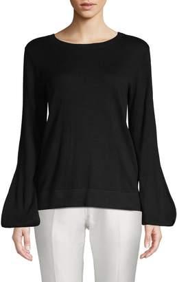BCBGMAXAZRIA Tie-Up Bishop-Sleeve Sweater