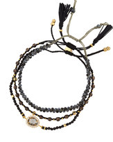 Tai Mixed Smoky Quartz Beaded Bracelets, Set of Three, Black