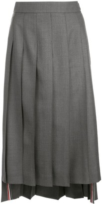 Thom Browne Stepped-Hem Pleated Midi-Skirt