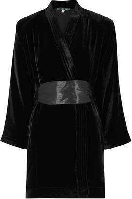 ALEXACHUNG Twilight Kimono Black Velvet Wrap Dress